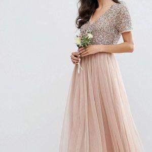 ASOS Maya sequined maxi dress blush